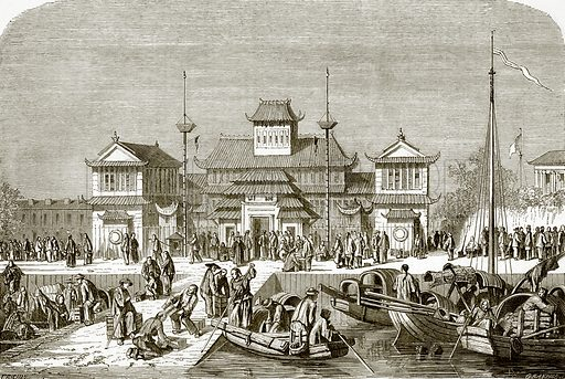 Custom house at Shanghai. All Round the World, First Series (1868).