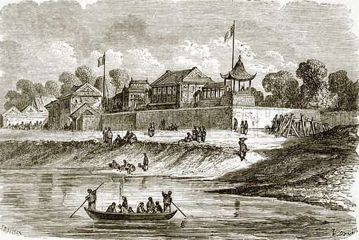 Residence of the French and English ambassadors at Tien-Tsin. All Round the World, First Series (1868).