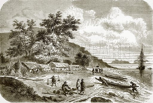 Mouth of the river Saigon, Cochin China. All Round the World, First Series (1868).