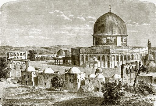 The mosque of Omar - site of the temple at Jerusalem. All Round the World, First Series (1868).