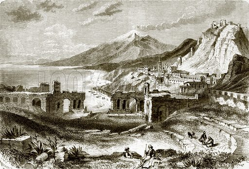 Mount Etna (viewed from Taurominium), in Sicily. All Round the World, First Series (1868).