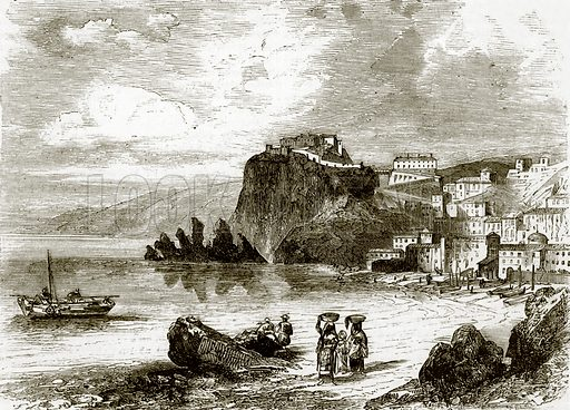The rock and town of Scylla, coast of Sicily. All Round the World, First Series (1868).