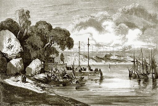 The landing place at Macao. All Round the World, First Series (1868).