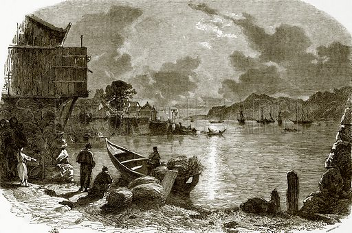 Night scene in Amoy. All Round the World, First Series (1868).