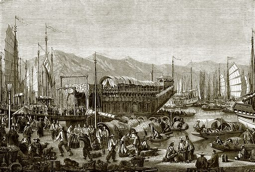 Flower (pleasure) boat at Shanghai. All Round the World, First Series (1868).