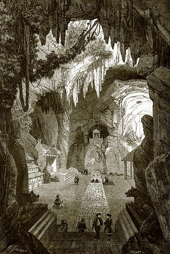 Subterranean budhist temple in the marble rocks near Touraine, in Cochin China. All Round the World, First Series (1868).