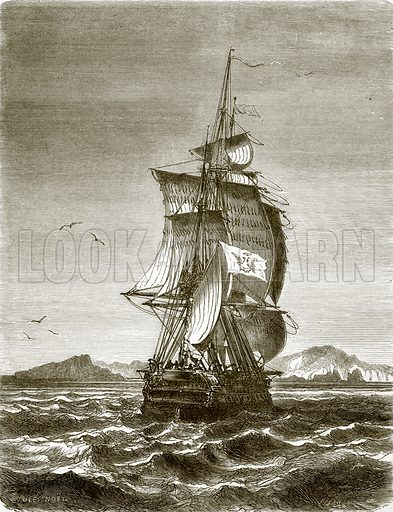 """The Austrian frigate, """"Novara"""" off the island of St. Paul. All Round the World, First Series (1868)."""