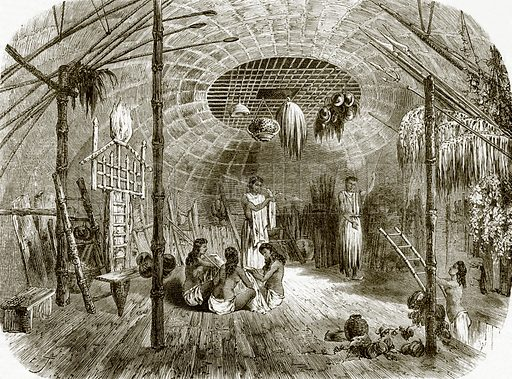 Interior of a hut in the island of Kar-Nikobar. All Round the World, First Series (1868).