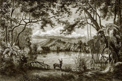 The enchanted lake in the Philippine island. All Round the World, First Series (1868).