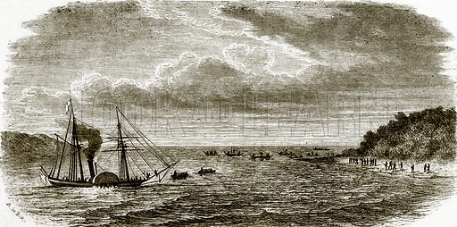 Attack on a British war steamer by the natives of Andaman. All Round the World, First Series (1868).