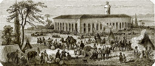Bazaar and fair at Nertchinsk-Russia in Asia. All Round the World, First Series (1868).