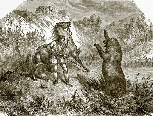 The first shot at a grizzly bear. All Round the World, First Series (1868).