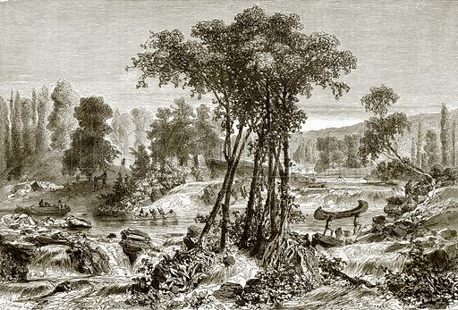 The portage on the white mud river. All Round the World, First Series (1868).