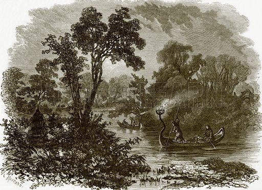 Salteaux Indians fire-fishing. All Round the World, First Series (1868).
