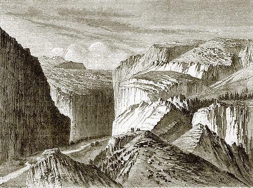 A canon, or mountain pass, in the Sierra war. All Round the World, First Series (1868).