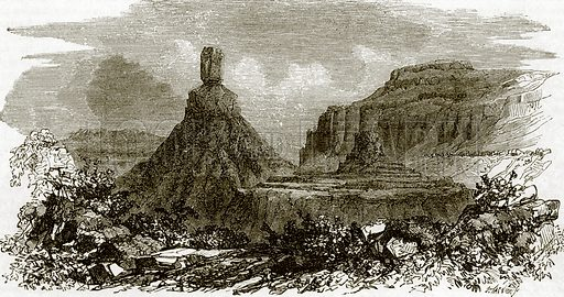 Chimney rocks, on the banks of the Columbia river. All Round the World, First Series (1868).