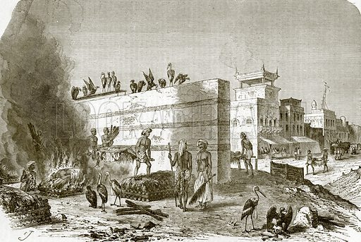 The cremation ghat at Calcutta. All Round the World, First Series (1868).
