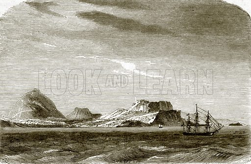 Post-office bay, Charles or Floriana island. All Round the World, First Series (1868).