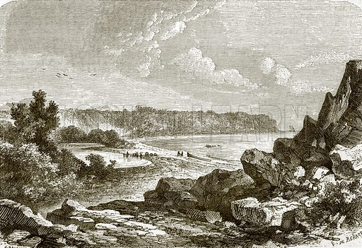 Watering-place, Charles island. All Round the World, First Series (1868).
