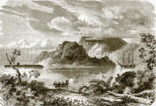 Bay of Manevai, island of Vanikoro. All Round the World, First Series (1868).