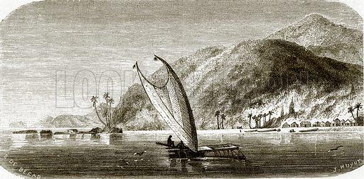 Village of Vanu, island of Vanikoro. All Round the World, First Series (1868).