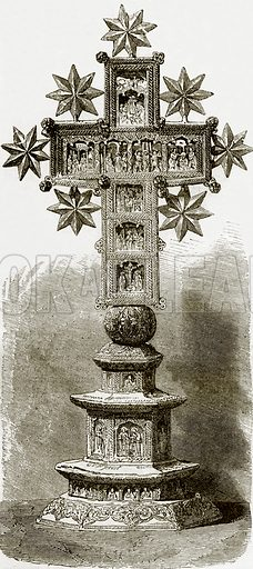 Sculptured cross in the treasury of Karyes. All Round the World, First Series (1868).