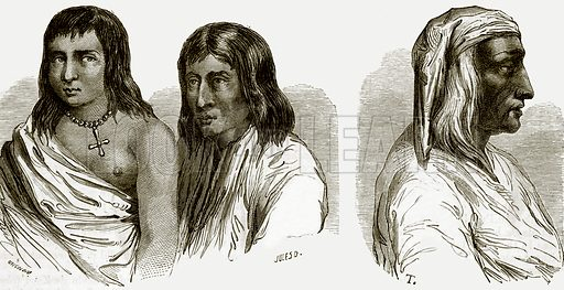 Pueblo or town-dwelling Indians and Alcalde of Santo Domingo. All Round the World, First Series (1868).