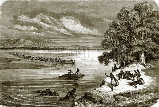 Ferry on the Rio Colorado. All Round the World, First Series (1868).