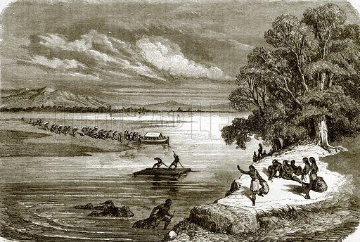 Ferry on the Rio Colourado. All Round the World, First Series (1868).
