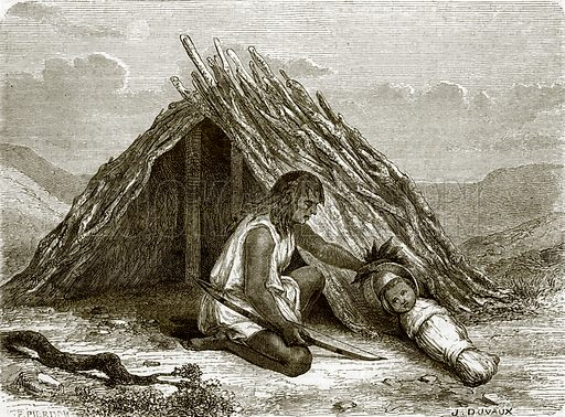 Hut of Chimehwhueb Indians. All Round the World, First Series (1868).