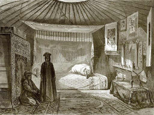Tent of a Kalmuk princess. All Round the World, First Series (1868).