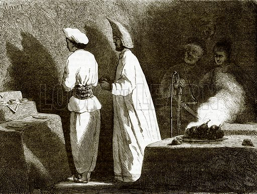 Fire-worshippers at Atash-Gah. All Round the World, First Series (1868).