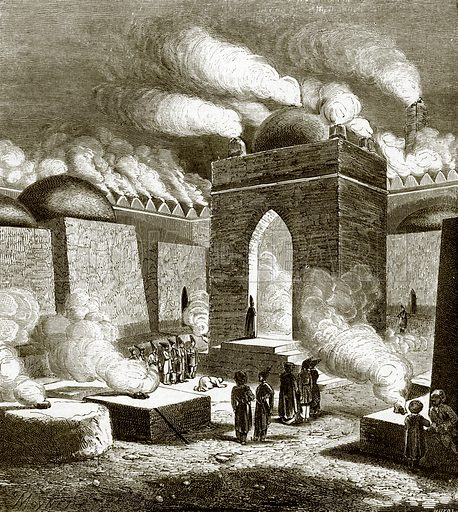 Fire temple near Baku. All Round the World, First Series (1868).