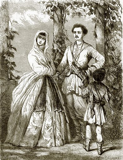 Georgian costumes. All Round the World, First Series (1868).