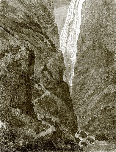Acclivity of mount Surham. All Round the World, First Series (1868).