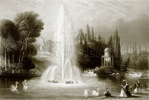 The fountain at Wilhelmshohe, near Cassel. Payne's Universum (1847).