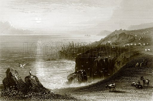 Lands end, Cornwall. Payne's Universum (1847).