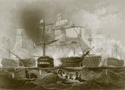 The battle of Trafalgar. Payne's Universum (1847).