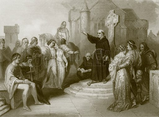 A dominican friar preaching a crusade. Payne's Universum (1847).