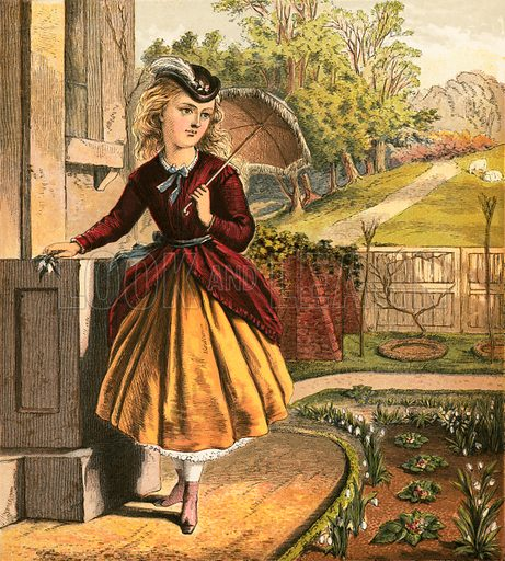 Girl with parasol. Aunt Louisa's Nursery Favourite (1870).