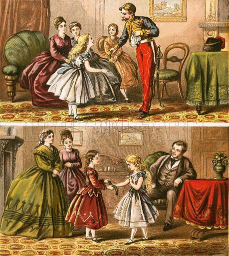 Family gathering.  Aunt Louisa's Nursery Favourite (1870).