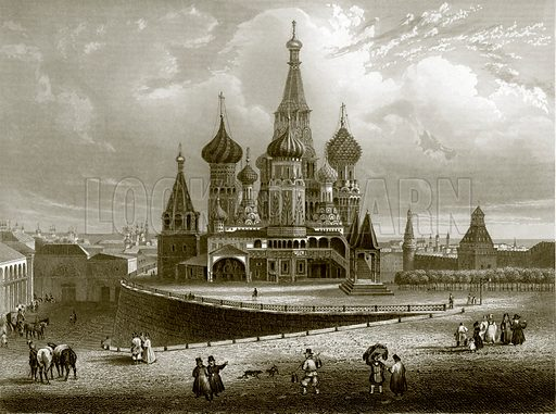 Wassili Blagennoi, or the Cathedral of St. Basil, Moscow. Payne