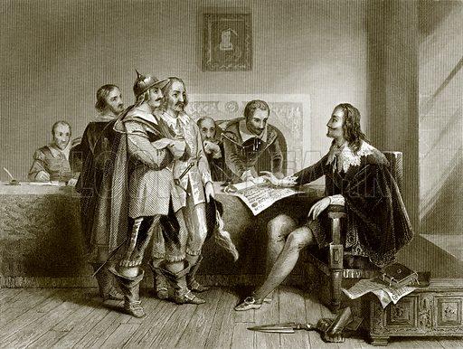 Charles 1st refusing the treaty at Oxford. Payne's Universum (1847).