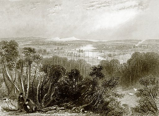 View from Pfaffenhofen, near Vienna. Payne's Universum (1847).