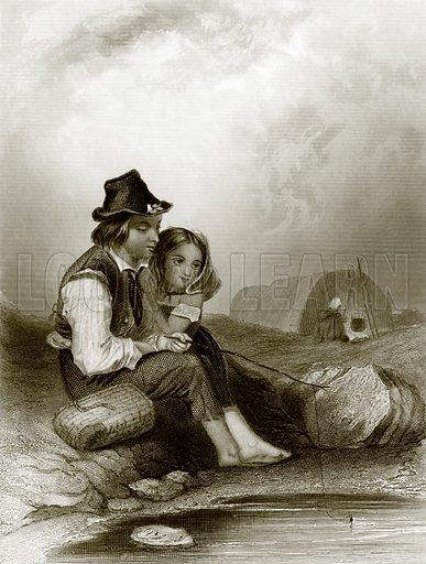 Gipsy anglers. Payne's Universum (1847).