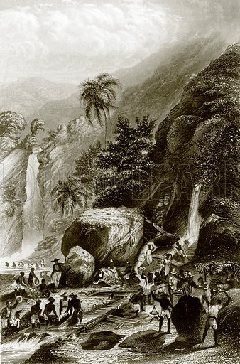 Gold washing in the Brazil. Payne's Universum (1847).