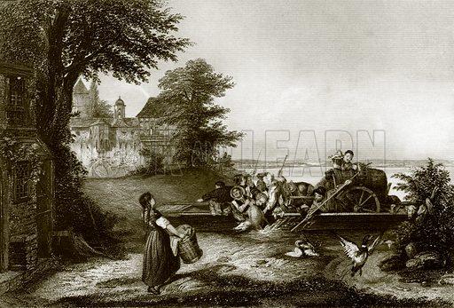 The Rhine Ferry. Payne's Universum (1847).