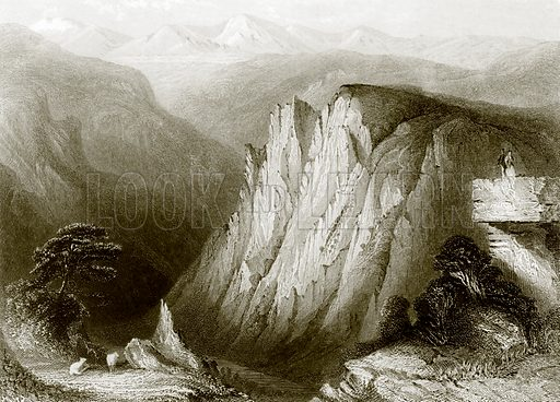 The Student's cliff, Hertz mountains. Payne's Universum (1847).
