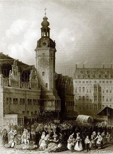 The town hall and market place, Leipzig. Payne