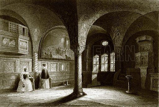 The interior of the Wartburg Chapel. Payne's Universum (1847).